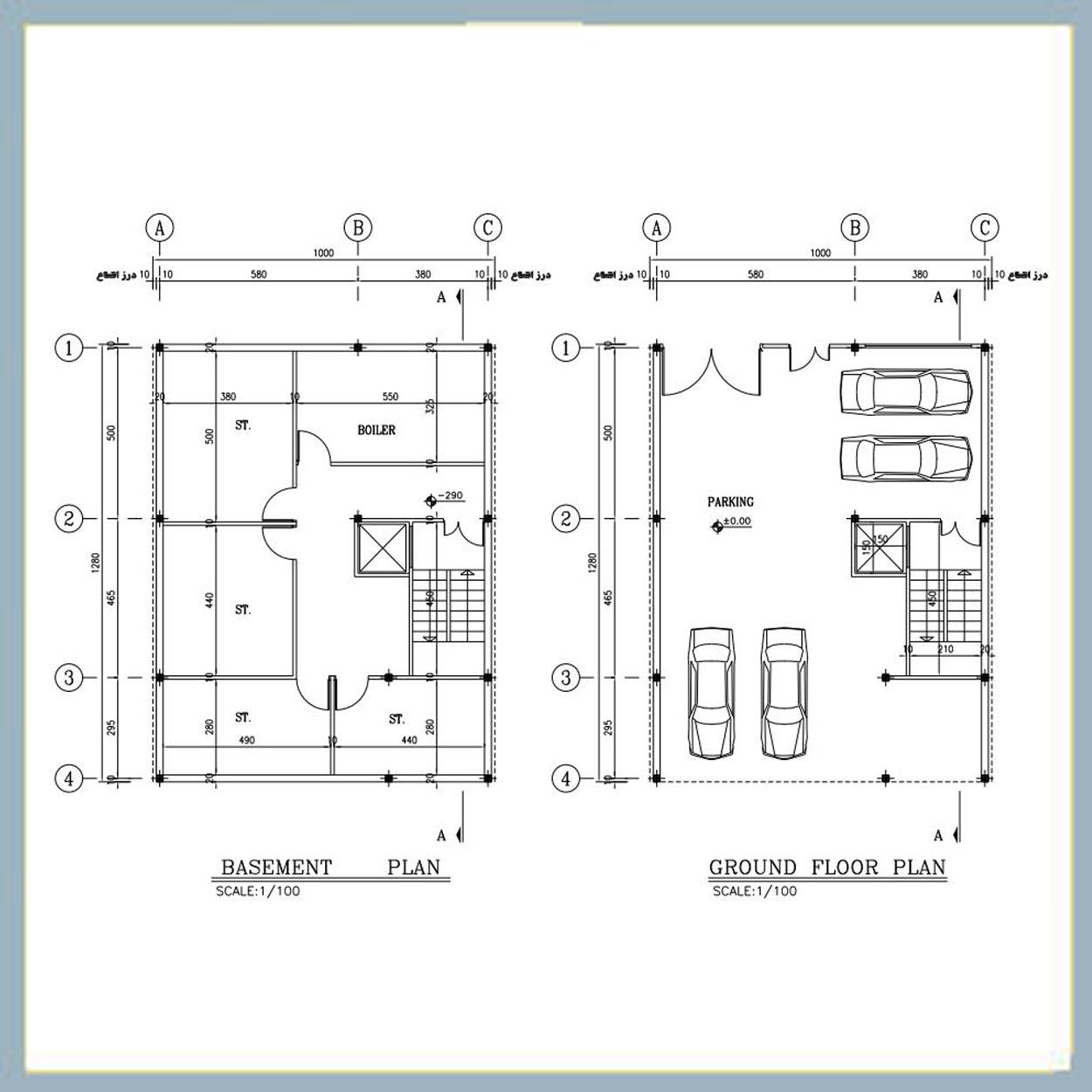 نقشه داخلی ساختمان 90 متری نقشه معماری 13*10 جنوبی | پلان یاب مارکت