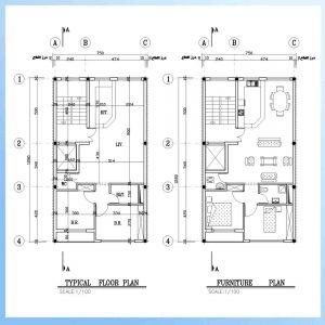 نقشه معماری 13*8 جنوبی