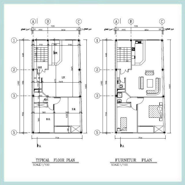 نقشه معماری 14*7 جنوبی