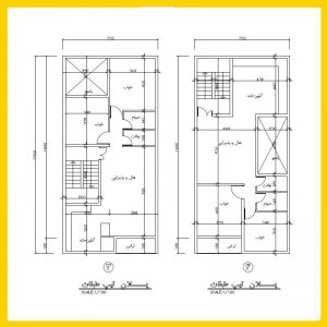 نقشه معماری 16*7 شمالی