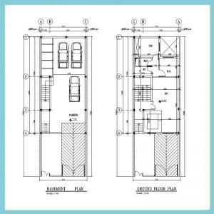 نقشه معماری 15*7 شمالی