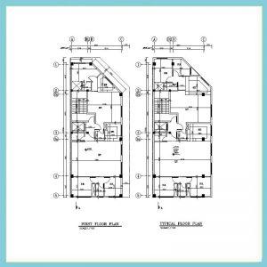 نقشه معماری 22*8 دو نبش
