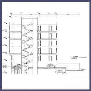 نقشه معماری 20*8 دو نبش